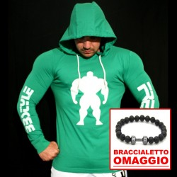 T-shirt Green Slim Fit - Manica lunga - 60%Machine 40%Man  +  OMAGGIO Braccialetto Lava