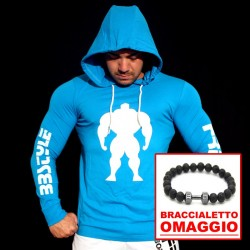 T-shirt Turquoise Slim Fit - Manica lunga - Body Under Construction  +  OMAGGIO Braccialetto Lava