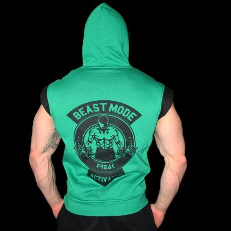 Felpa Smanicata Black Green Beast Mode Activated