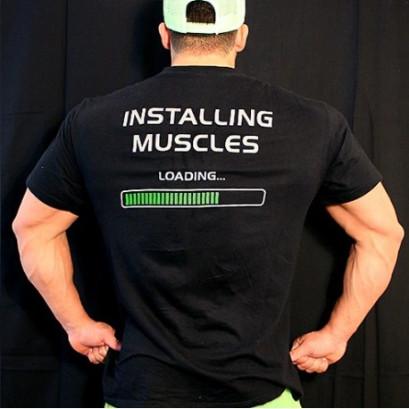 T-shirt  Black installing Muscles