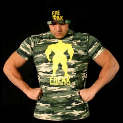 T-shirt Camouflage Warning Bodybuilder Dieting - Yellow