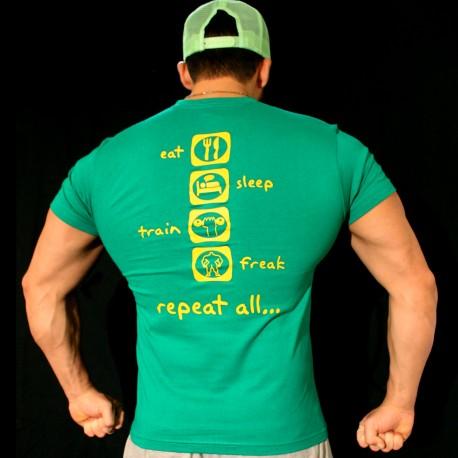 T-shirt Green  eat, sleep, train, freak