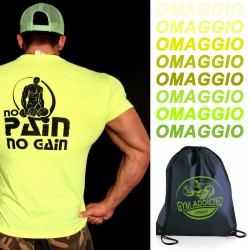T-shirt  Yellow No pain No Gain + Zainetto nylon OMAGGIO