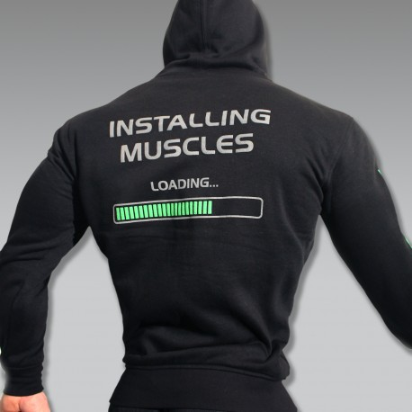 Felpa Spring New Zip Black Installing Muscles