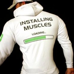 Felpa White Installing Muscles Zip
